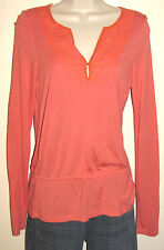INC Coral Long Sleeve Modal Top w Bead Trim & Drawstring Waist Size Medium NWT