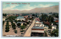 c. 1907 Pasadena CA Birds Eye View Postcard Walnut St Street Cash Grocery