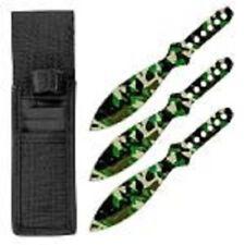 "3pc 6.5"" Steel Throwing Knife Target Set w/ Storage Case Pouch Tear Drop Camo"