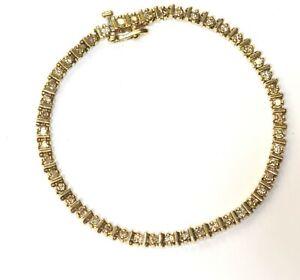"14k yellow gold 1.41ct SI3- II H diamond tennis bracelet 12.9g estate 7 1/2"""