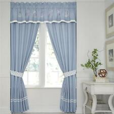 Croscill Cape May Curtain Pole Top Pair w/ Tiebacks Blue White Linen 82 x 84 NEW