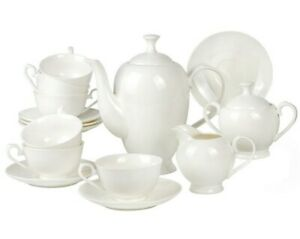 15-Pc Bone China Tea Set for 6 Persons White Porcelain Made in Russia Gzhel