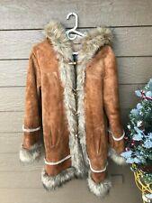 WOW~Vintage Wilson's PELLE Leather/Suede Rabbit Fur TRIM HOODED Coat - Medium
