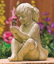 Carved Wood Look Little Girl w/ Solar Lighted Fireflies In Jar Garden Statue