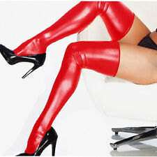 Women Glam Rock Gothic Glitzy High Latex Catsuit Stockings Thongs G-String Red