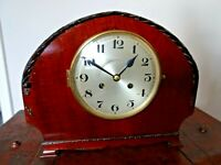 Antique Early 20th Century Arched Carved Mahogany Mantel Clock with Chime (Time)