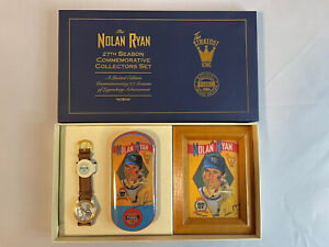 1993 Nolan Ryan Fossil Watch and Autographed Litho 27th Season Commemorative Set