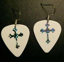 Guitar Pick Earrings Sparkle Celtic Cross on White