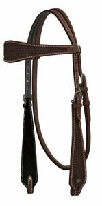 NEW SHOWMAN WESTERN BRIDLE HEADSTALL TOOLED ARGENTINE COW LEATHER HORSE TACK NR
