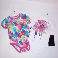 Set of 2 Enyce Bodysuits Kids Infant Toddler 6-9 Months Girls Pink Purple Paint