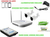 Kit videosorveglianza wireless 2 telecamere senza fili 720p HD 1000 GB 2 MPX IR