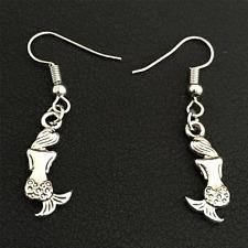 Fashion Tibetan Silver The Little Mermaid Dangle Pendant Earring 3 pair