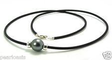 12.7MM Gray Tahitian Pearl & Roundal Station on Rubber Cord, 925 Silver, 24""