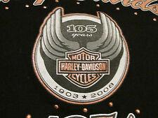 Women's Black Harley Davidson Zip Front Jacket 105th Anniversary 1903-2008 SMALL