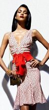 ICONIC TOM FORD RUNWAY WHITE SILK COCKTAIL DRESS RED POLKA DOTS w/ belt s.EUR42