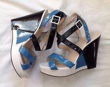 Nine West Fanny Strappy Platform Wedge Sandals Faux Patent Leather Sz 11 M