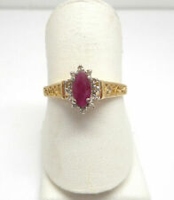 10k Yellow Gold Genuine Ruby and Diamond Ring