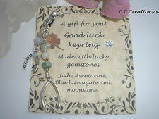 GOOD LUCK FORTUNE HEALING CRYSTALS GEMSTONES KEYRING BAG CLIP CHARM CHAKRA LUCKY