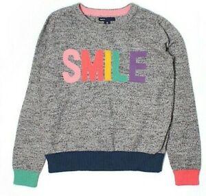"New super cute GAP ""smile"" print cotton knit sweater boy's size Large L 10y"