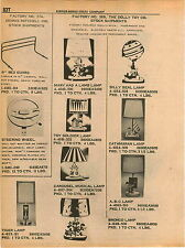 1961 ADVERT Dolly Toy Co Lamp Lamps Carousel Musical Toy Soldier Lamp Seal Tiger