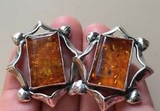 DESIGNER POLISH AMBER STERLING SILVER LARGE & BOLD EARRINGS VINTAGE MODERNIST