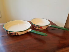Vintage Porcelainware By Cinsa Normandy 2 Pc. Frying Pans w/ Green Handle