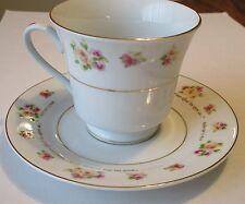 Dayspring Teacup & Saucer-Yellow & Pink Rose Design
