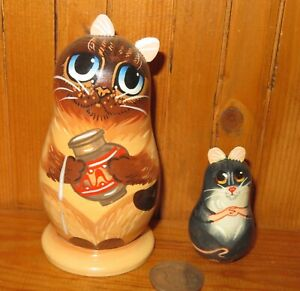 Matryoshka SIAMESE CAT & GREY MOUSE hand painted Russian 2 small Nesting Dolls