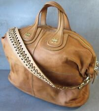 GIVENCHY CARAMEL LEATHER NIGHTINGALE 2 HANDLE TOP ZIP CARRY ALL SATCHEL BAG