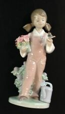 "Lladro #5217 ""Spring"" Girl With Flowers & Bird Porcelain Figurine Spain"