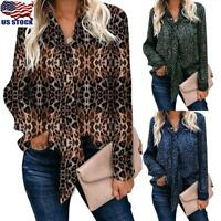 Womens Leopard Print Tie Up Tops Shirt Ladies Loose Long Sleeve T-Shirt Blouse