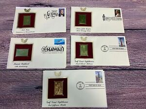 First Day of Issue Lighthouses Hawaii Cooper Bob Hope 22kt Gold Stamp Lot Of 5