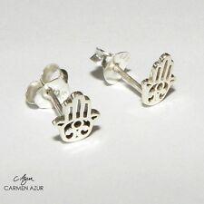 Silver Stud Earrings (Solid 925 Sterling) Hand of Fatima, Hamsa New inc Gift Bag