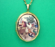 Porcelain ROOSTER & 3 HENS Chicken CAMEO Locket Pendant Necklace Birthday Gift