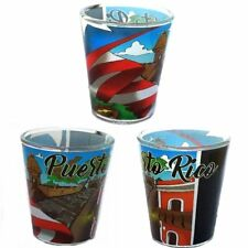 Lot Of 2 Shot Glasse With Puerto Rico Design SOUVENIRS ( Rican - Boricua
