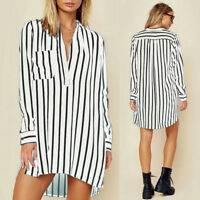 ZANZEA Women's Asymmetrical Evening Party Mini Dress V Neck Stripe Shirt Dress