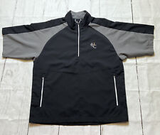 FJ Footjoy Men's Black Gray 1/2 Zip Golf Windbreaker Short Sleeve Jacket Medium