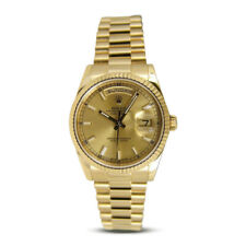 ROLEX REHAUT Mens 18kt Gold Day Date President Champagne Index 118238 SANT BLANC