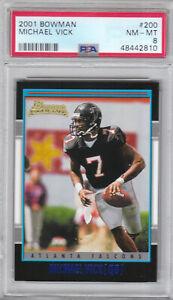 2001 Bowman Falcons Michael Vick Rookie Card #200 PSA 8 NM-MT (2810)