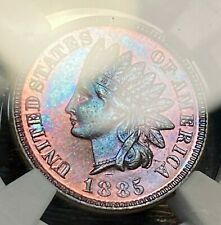 1885 Proof Indian Cent NGC PR64 Brown Vibrant Blue/Pink/Purple Toning CHN