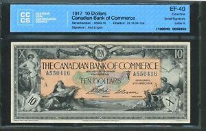 1917 $10 Canadian Bank of Commerce EF-40 CCCS. 75-16-04-12a Small Sig Aird Logan