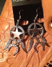 Silver Tone Lone Star Earrings! Wings Horseshoe Muddy Western Cowgirl USA Rodeo