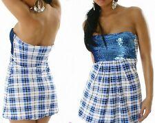 Sexy Miss Bandeau Ballon Long TOP Karo Dress Glamour  Pailletten blau 34/36/38