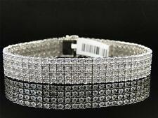 Mens White Gold Finish 4 Row Real Genuine Diamond 13 MM Bracelet Bangle 8.5 Inch