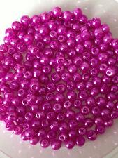 4mm Vetro perle finte strand Magenta oltre 200 perline creazione gioielli,