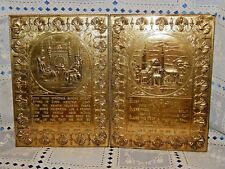 Pair Vintage Made in England Brass Over Wood Wall Plaques – 11 x 8 in
