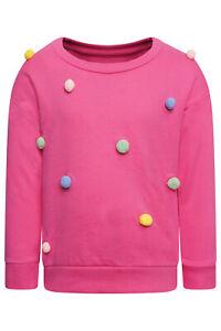Girls Baby Kids Pink Furry Pom Pom Jumper Long Sleeves Top Sweater Sweatshirt