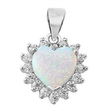Lab Created Heart Opal with CZ .925 Sterling Silver Pendant