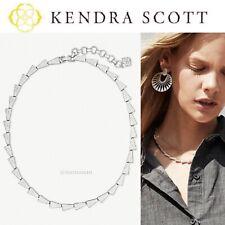 Kendra Scott Leon Hammered Geometric Link Collar Bright Silver Necklace