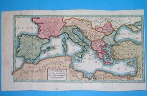 1716 rare ORIGINAL MAP MEDITERRANEAN EUROPE SPAIN ITALY FRANCE ROMANIA GREECE